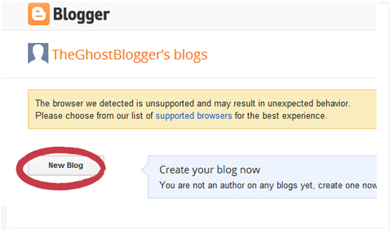 Click on 'New Blog'.