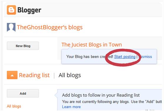 Click on 'Start Blogging